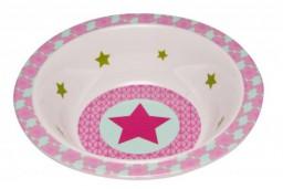 Lässig - Dish Bowl Melamine/Silicone Starlight (sterren) magenta