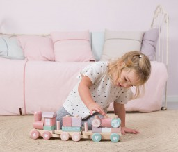Little Dutch - Blokkentrein hout - adventure pink