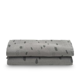 Jollein - hydrofiel multidoek large spot storm grey - 115x115cm (2 pack)