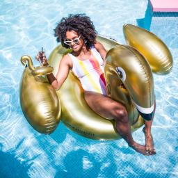 Swim essentials - luchtbed gouden zwaan XL
