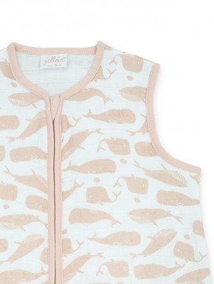 Jollein - Slaapzak zomer 90cm hydrofiel Whales pale pink