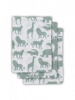 Jollein - Hydrofiel washandje Safari forest green ( 3 pack )