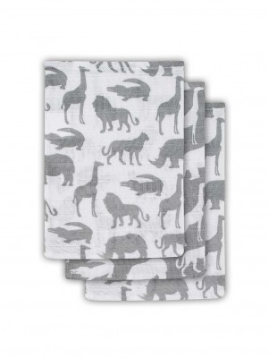 Jollein - Hydrofiel washandje Safari stone grey ( 3 pack )