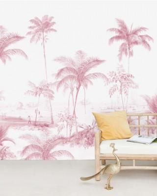 Creative Lab Amsterdam - Exotic palms Pink Behang Mural