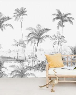 Creative Lab Amsterdam - Exotic palms Black & White Behang Mural