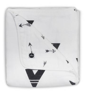 Jollein - deken hydrofiel Indians black & white 75x100cm