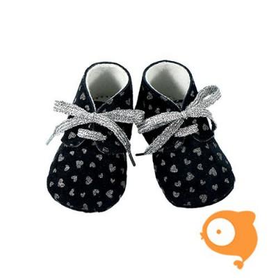 Fior di Coccole - Babyslofjes donkerblauw met zilveren hartjes en veters