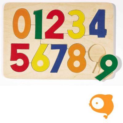 Goki - Inlegpuzzel getallen 0-9 effen kleuren