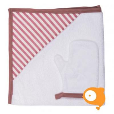 Baby Bites - Set handdoek en washandje sailor pink stripes