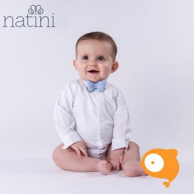 Natini - Body pierrot bow stripes light blue