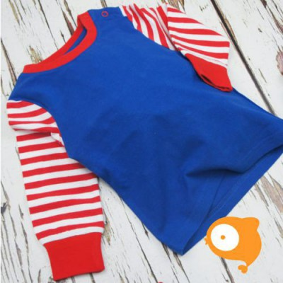 Blade&Rose - Longsleeve plain blue with red & white striped