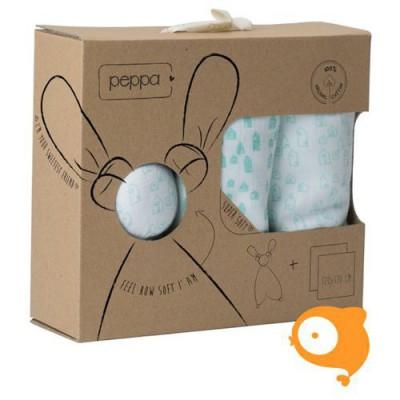 Peppa - Giftset floppy knuffel + tetradoeken huisjes wit/mint