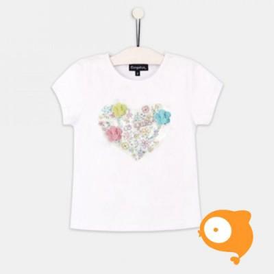 Conguitos - T-shirt wit met bloemetjes in hartvorm