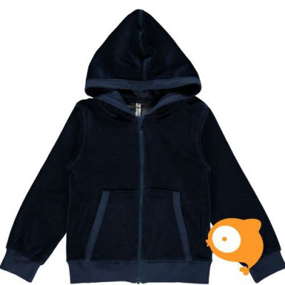 Maxomorra - Cardigan hood velour dark blue