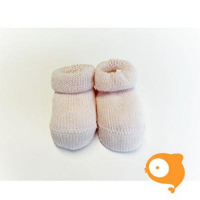 Fior di Coccole - Gebreide sokjes roze Newborn (wol)