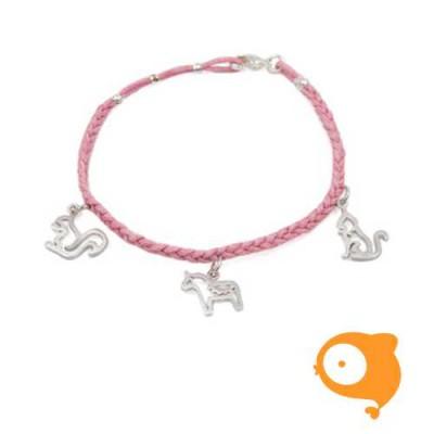 By Nebuline - Armband roze met eekhoorn-paard-kat in sterling zilver