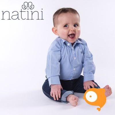 Natini - Body pierrot vichy light blue