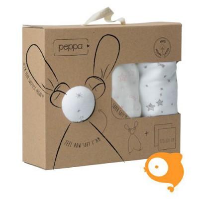Peppa - Giftset floppy knuffel + tetradoeken sterren taupe/roze