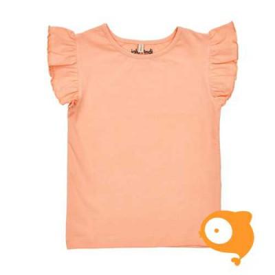 Iglo & Indi - Peach Ruffle Sleeve Top