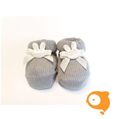 Fior di Coccole - Gebreide sokjes grijs met konijntje Newborn (Katoen)