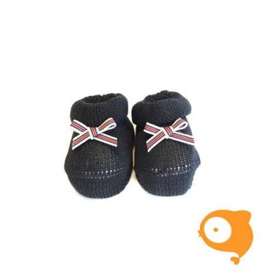 Fior di Coccole - Gebreide sokjes donkerblauw met gestreept strikje Newborn (Katoen)