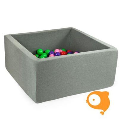 Misioo - Ballenbad vierkant grijs incl 300 ballen (kleur ballen: roos, wit, transparant, parel+zilve