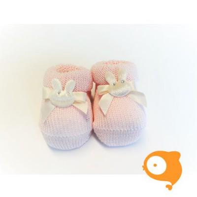 Fior di Coccole - Gebreide sokjes roze met konijntje Newborn (wol)