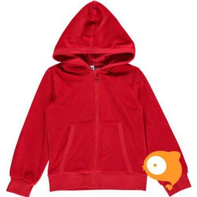 Maxomorra - Cardigan hood velour red