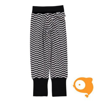 Maxomorra - Pants rib waves black/white