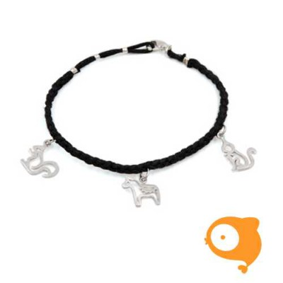 By Nebuline - Armband zwart met eekhoorn-paard-kat in sterling zilver