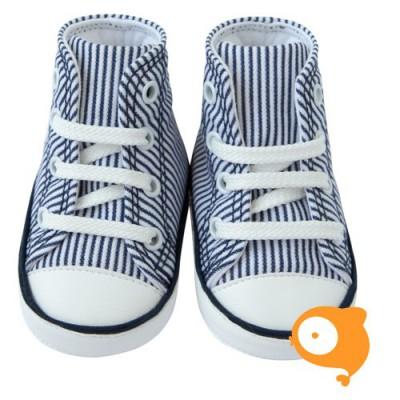 Fior di Coccole - Babyschoentjes white stripes blue