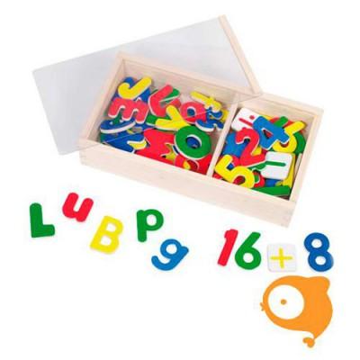 Goki - Magnetische letters en cijfers in houten doosje