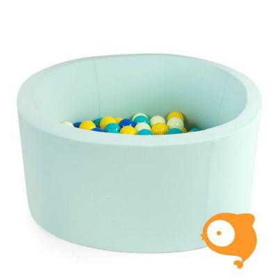 Misioo - Ballenbad rond mint incl 200 ballen (kleur ballen: wit, turquoise en transparant)