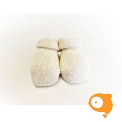 Fior di Coccole - Gebreide sokjes ecru Newborn (wol)