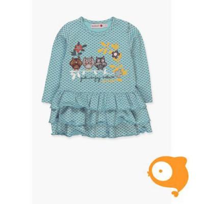 Boboli - kleedje baby blauw met uiltjes