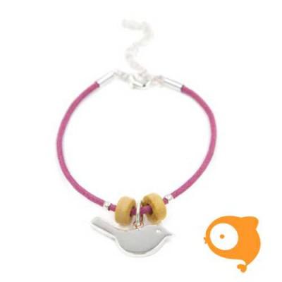 By Nebuline - Armband paars met vogel verzilverd