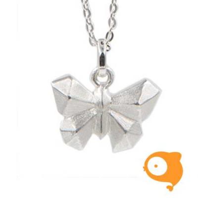 By Nebuline - Ketting met hanger origami vlinder in sterling zilver