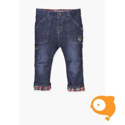 Boboli - Broekje baby jeans blauw met ruitjes