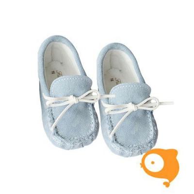 Fior di Coccole - Babyslofjes winter suede moccasin blauw