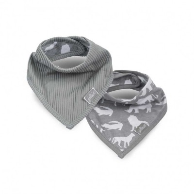 Jollein - slab bandana Safari stone grey ( 2 pack )