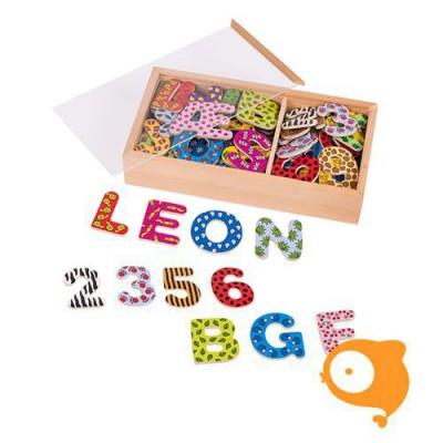 Goki - Magnetische letters en cijfers met motief in houten doosje