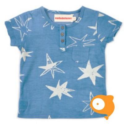Nadadelazos - T-shirt buttoned hoshi blue