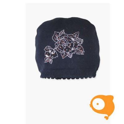 Boboli - Muts baby gebreid donkerblauw met roos - laatste stuk - xs maat 46