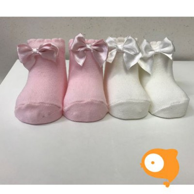In Control - Newborn sokjes satin bow white/light pink (set van 2)