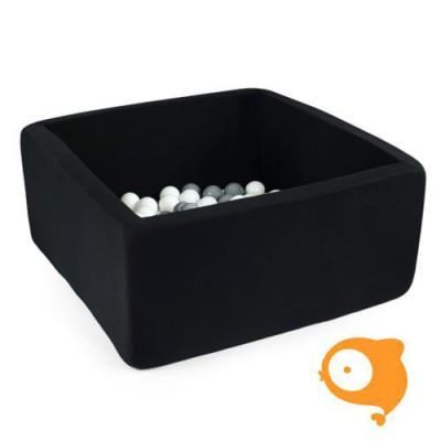 Misioo - Ballenbad vierkant grijs incl 300 ballen (kleur bal: babyblauw+zilver+trans+grijs