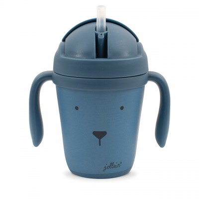 Jollein - drinkbeker bamboe animal steel blue