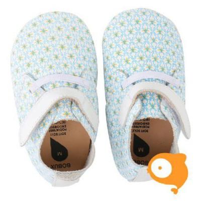 Bobux - Soft sole white/floral/white trim trainer