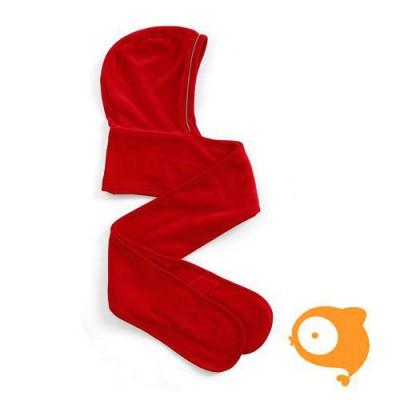 Mundo melocotón - Hoodie sjaal velours rood/jade