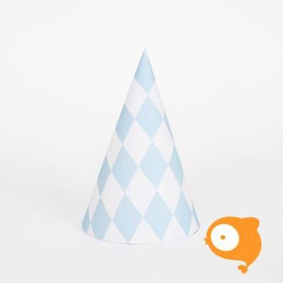 My little day - Papieren hoedjes diamant blauw - set van 8