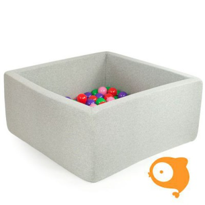 Misioo - Ballenbad vierkant lichtgrijs incl 300 ballen (babyroze, parel, clear, zilver)